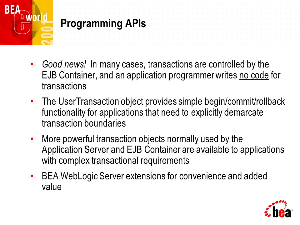 Programming APIs Good news.