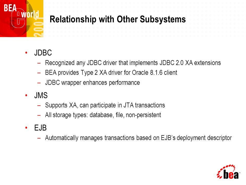 High-Level Architecture Transaction Manager XA-Capable Resource EJB Container Application JDBC Wrapper JTA JDBC JMS XA JDBC JTA