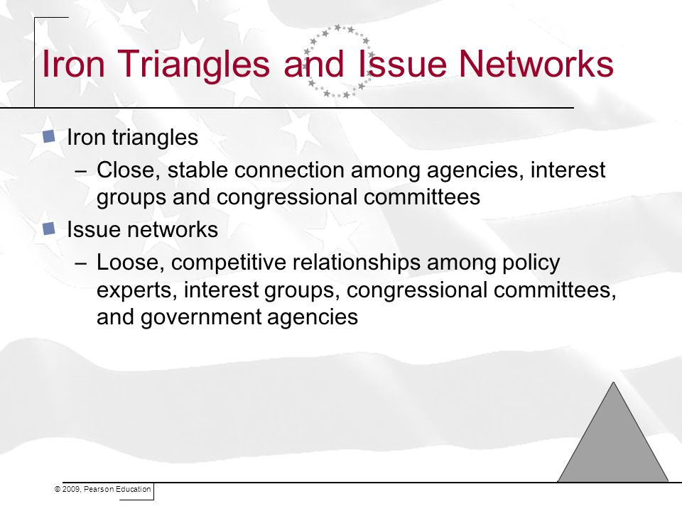 Iron Triangles and Issue Networks Iron triangles –Close, stable connection among agencies, interest groups and congressional committees Issue networks