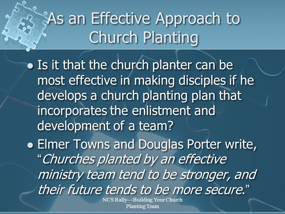 NCS Rally—Building Your Church Planting Team Lay Church Planting Resources