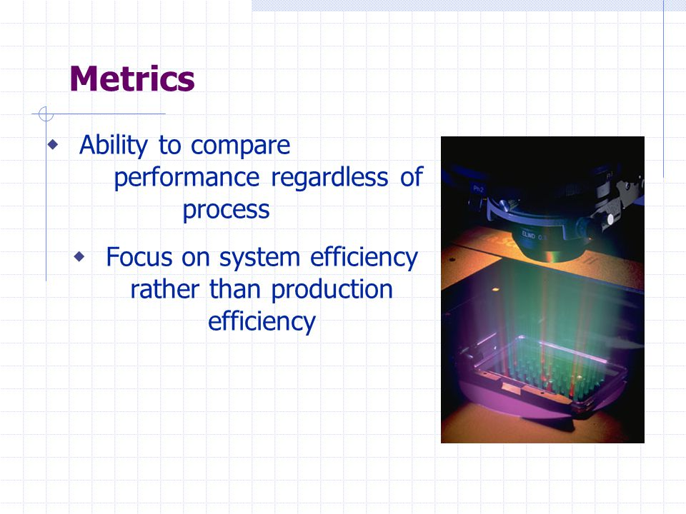 Metrics  Ability to compare performance regardless of process  Focus on system efficiency rather than production efficiency