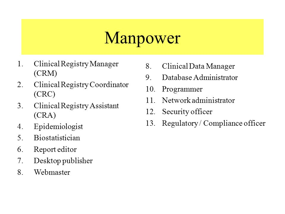 Manpower 1.Clinical Registry Manager (CRM) 2.Clinical Registry Coordinator (CRC) 3.Clinical Registry Assistant (CRA) 4.Epidemiologist 5.Biostatistician 6.Report editor 7.Desktop publisher 8.Webmaster 8.Clinical Data Manager 9.Database Administrator 10.Programmer 11.Network administrator 12.Security officer 13.Regulatory / Compliance officer