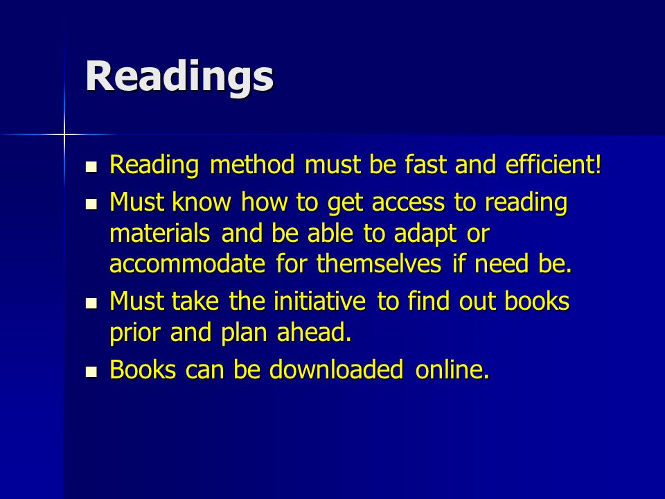 Readings Students must keep a dialogue with professors to find out about up coming readings if added.