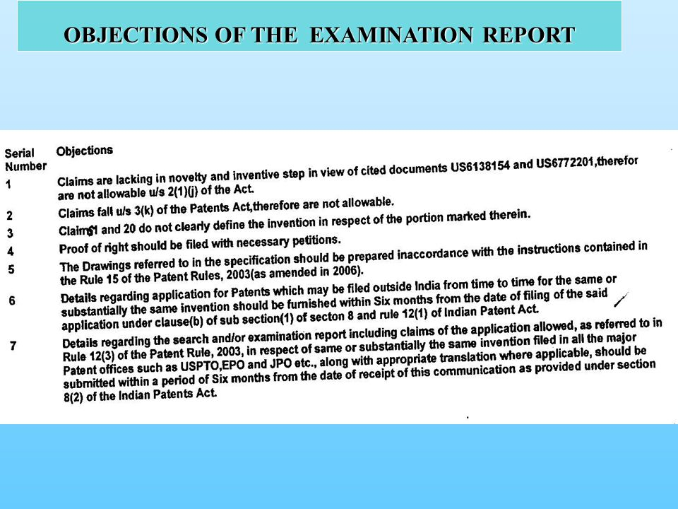 OBJECTIONS OF THE EXAMINATION REPORT