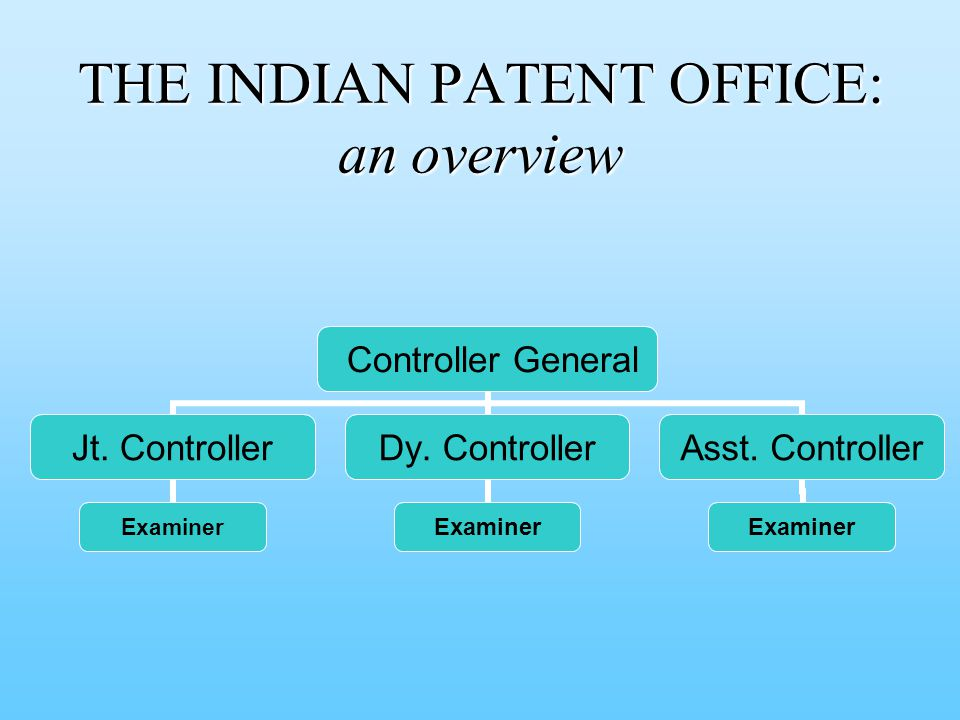 THE INDIAN PATENT OFFICE: an overview Controller General Jt.