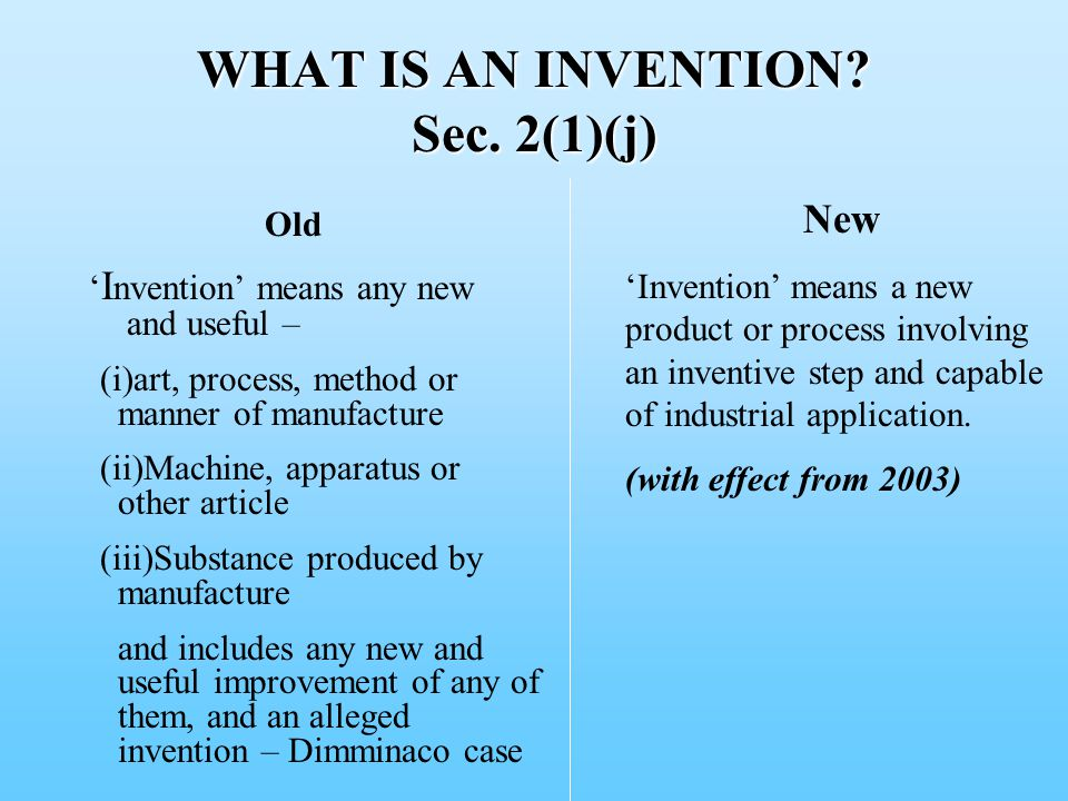 WHAT IS AN INVENTION. Sec.