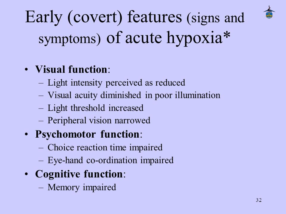 32 Early (covert) features (signs and symptoms) of acute hypoxia* Visual function: –Light intensity perceived as reduced –Visual acuity diminished in poor illumination –Light threshold increased –Peripheral vision narrowed Psychomotor function: –Choice reaction time impaired –Eye-hand co-ordination impaired Cognitive function: –Memory impaired