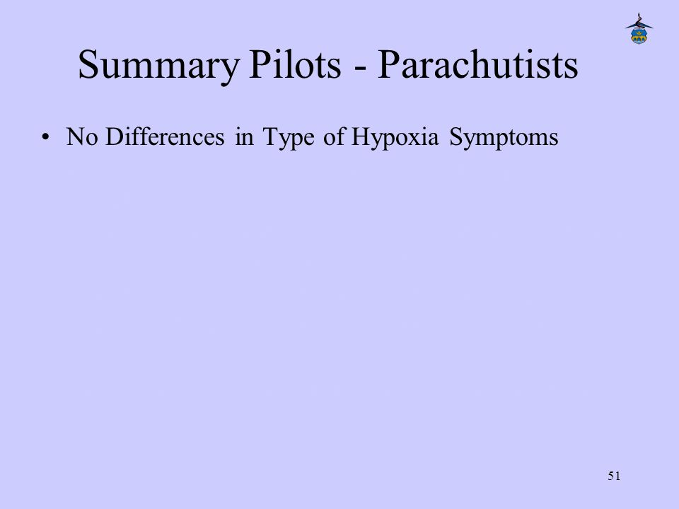 51 Summary Pilots - Parachutists No Differences in Type of Hypoxia Symptoms No Differences in Recognition of first Hypoxia Symptoms in Time and SaO 2 Pilots Re-connect themselves earlier than Parachutists (Time and SaO 2 ) to 100% Breathing Gas Parachutists wait much longer after first Experience of Hypoxia Symptoms until Re-connection to 100% Breathing Gas There is no Difference between Smokers and Non- Smokers.