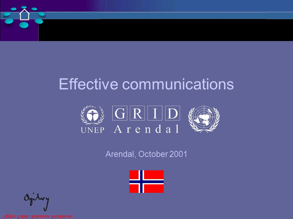 Effective communications Arendal, October 2001