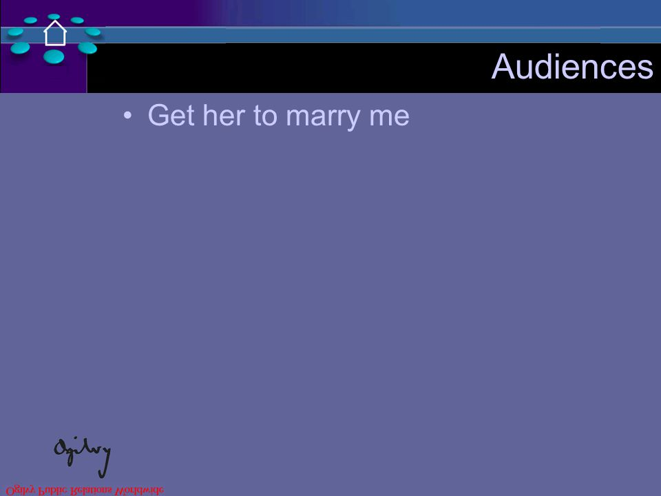 Audiences Get her to marry me