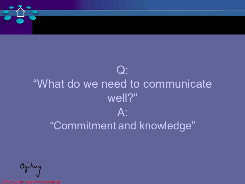 Q: What do we need to communicate well A: Commitment and knowledge