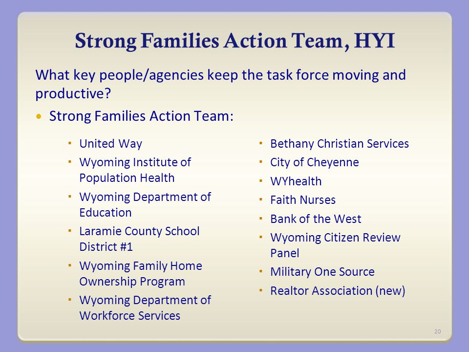 Strong Families Action Team, HYI What key people/agencies keep the task force moving and productive.