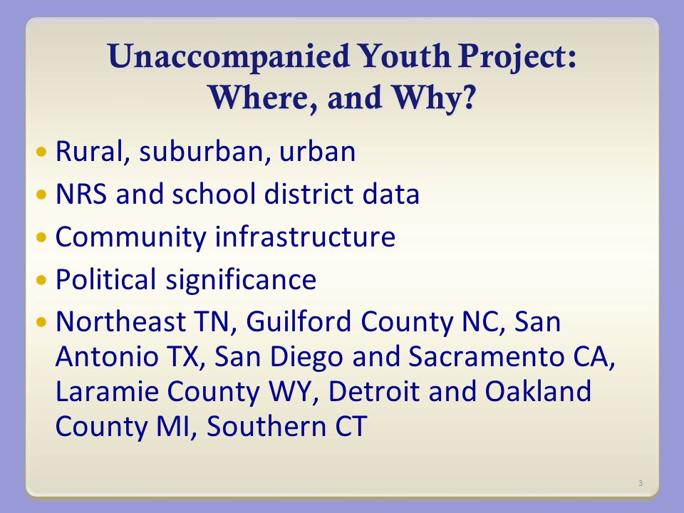 Unaccompanied Youth Project: Where, and Why.