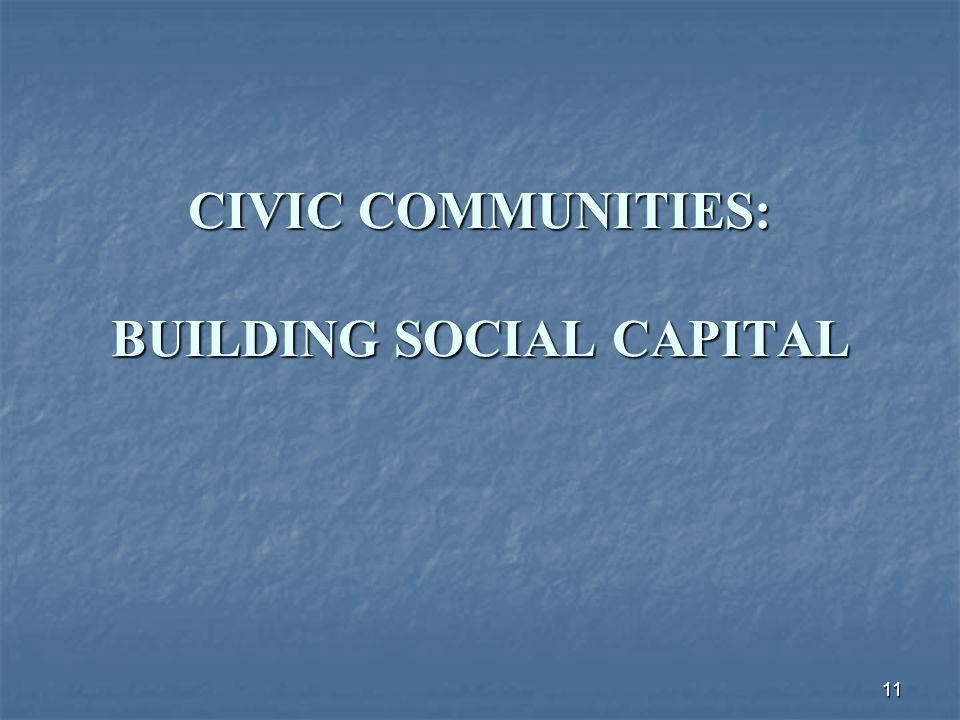 11 CIVIC COMMUNITIES: BUILDING SOCIAL CAPITAL
