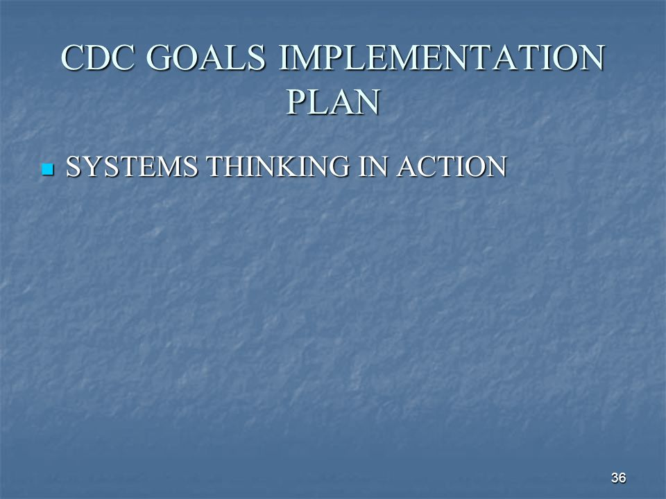 36 CDC GOALS IMPLEMENTATION PLAN SYSTEMS THINKING IN ACTION SYSTEMS THINKING IN ACTION