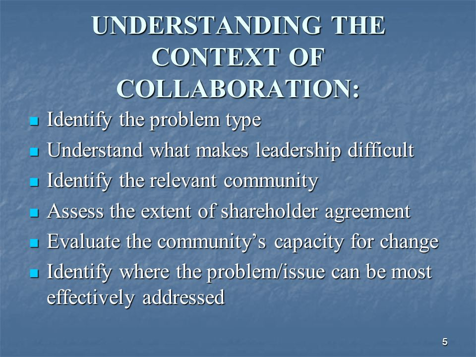 6 THE KEYS TO SUCCESSFUL COLLABORATION: Good timing and clear need Good timing and clear need Strong stakeholder groups Strong stakeholder groups Broad-based involvement Broad-based involvement Credibility and openness of process Credibility and openness of process Commitment and/or involvement of high level, visible leaders (e.g.