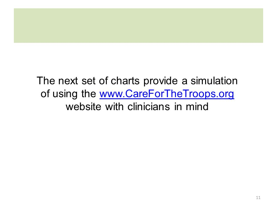 11 The next set of charts provide a simulation of using the www.CareForTheTroops.org website with clinicians in mindwww.CareForTheTroops.org