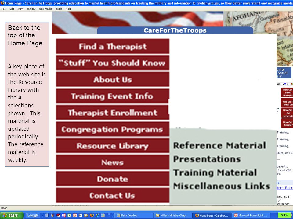 Back to the top of the Home Page A key piece of the web site is the Resource Library with the 4 selections shown. This material is updated periodicall