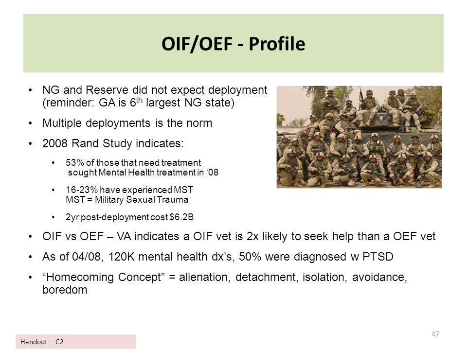 OIF/OEF - Profile 47 NG and Reserve did not expect deployment (reminder: GA is 6 th largest NG state) Multiple deployments is the norm 2008 Rand Study