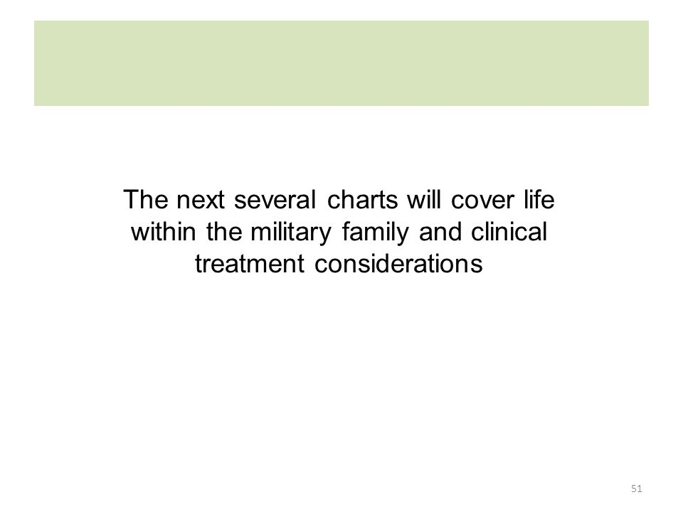 51 The next several charts will cover life within the military family and clinical treatment considerations