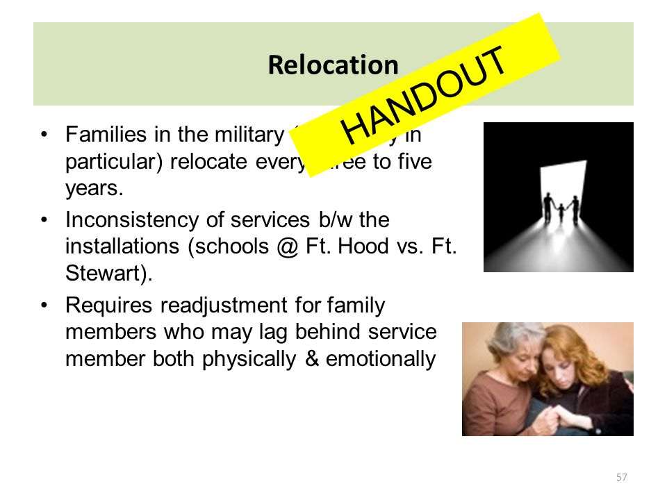 57 Relocation Families in the military (U.S. Army in particular) relocate every three to five years. Inconsistency of services b/w the installations (