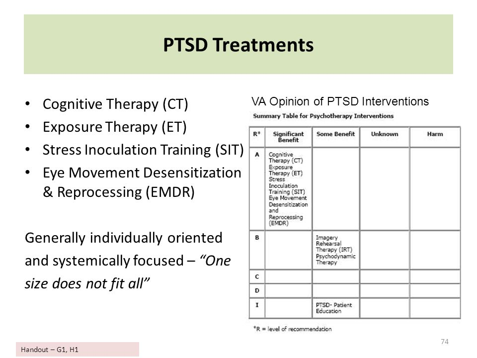 PTSD Treatments Cognitive Therapy (CT) Exposure Therapy (ET) Stress Inoculation Training (SIT) Eye Movement Desensitization & Reprocessing (EMDR) Gene
