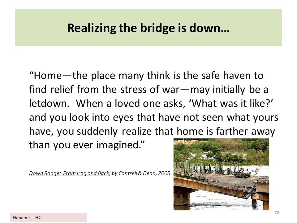 "Realizing the bridge is down… ""Home—the place many think is the safe haven to find relief from the stress of war—may initially be a letdown. When a lo"