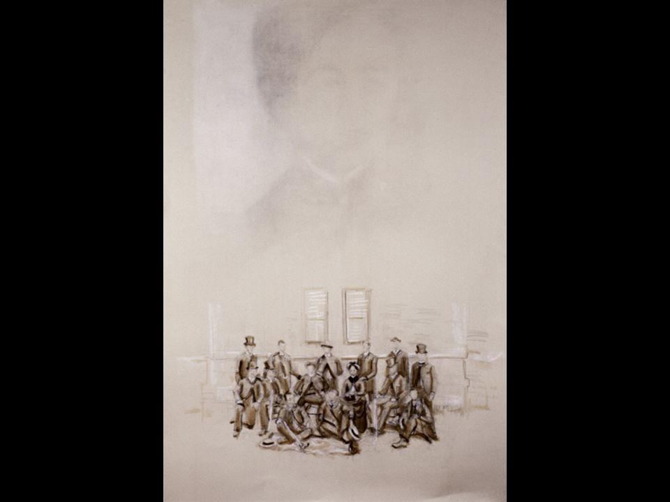 Bertha Erased, and en face with the Men (Bertha Louise Soule, Class of 1885.) Mixed media(erased charcoal, graphite, sepia ink wash heightened with white)/paper.