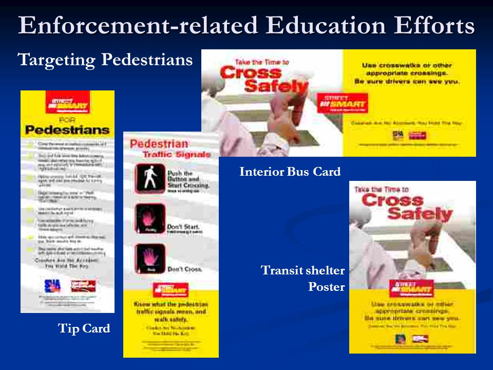 Enforcement-related Education Efforts Tip Card Interior Bus Card Transit shelter Poster Targeting Pedestrians