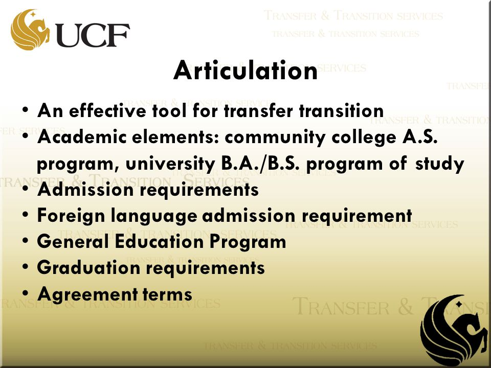 Articulation An effective tool for transfer transition Academic elements: community college A.S. program, university B.A./B.S. program of study Admiss