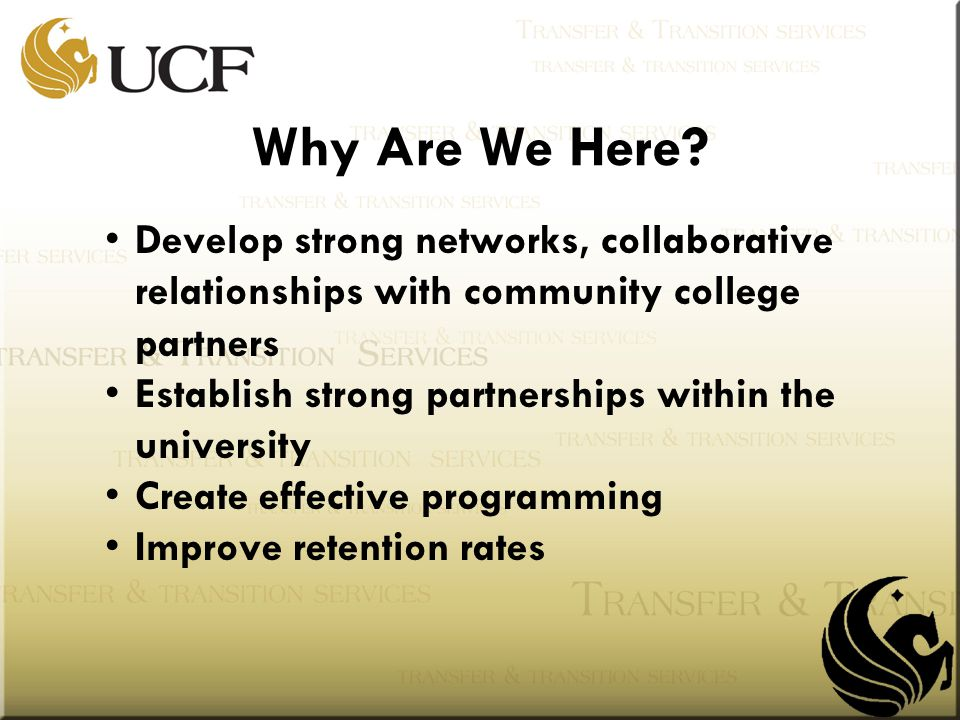 Develop strong networks, collaborative relationships with community college partners Establish strong partnerships within the university Create effective programming Improve retention rates Why Are We Here?