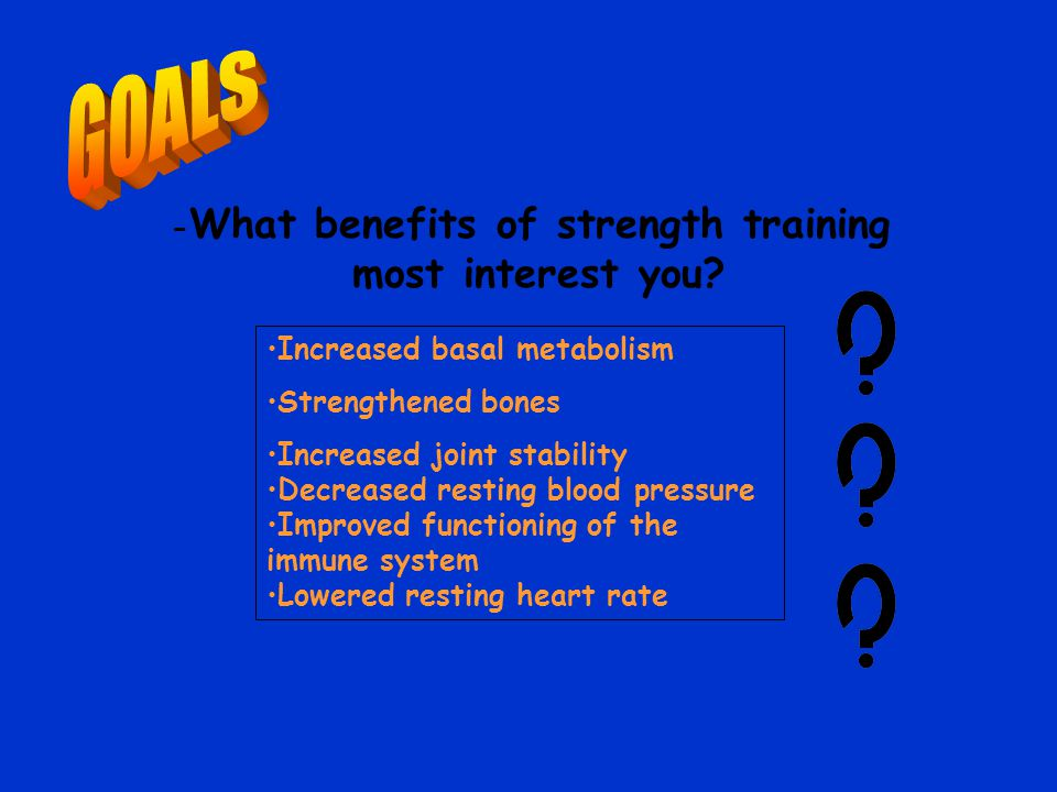 - What benefits of strength training most interest you.