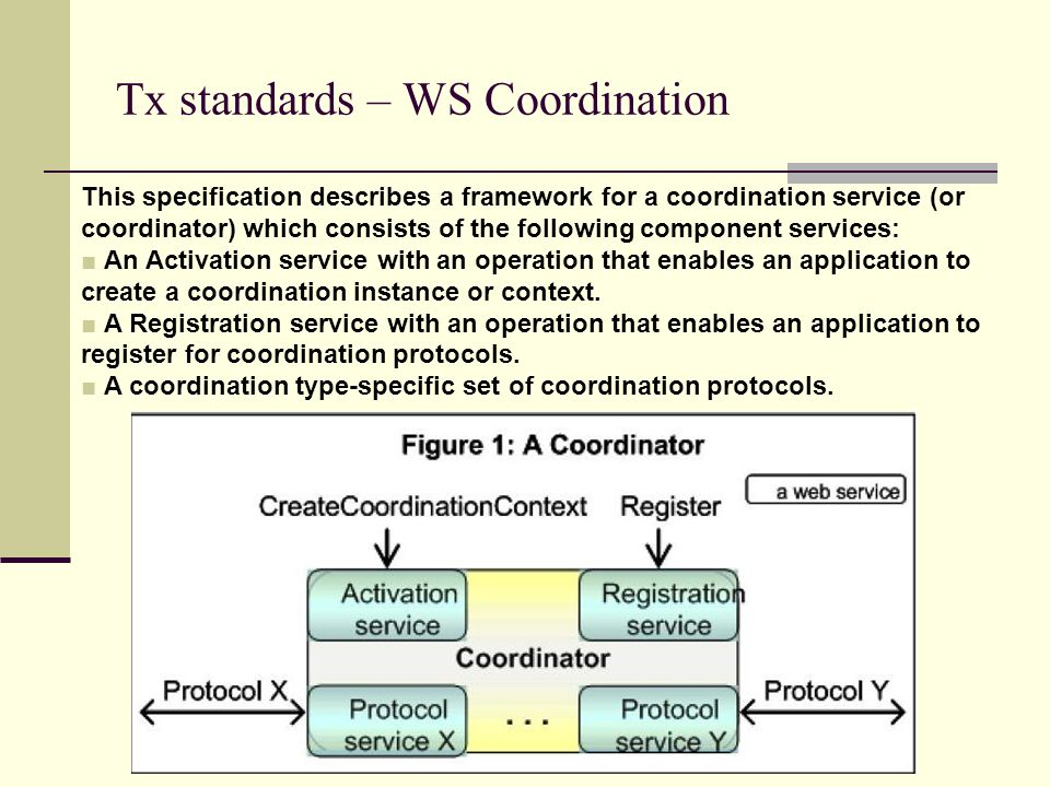 Tx standards – WS Coordination This specification describes a framework for a coordination service (or coordinator) which consists of the following component services: ■ An Activation service with an operation that enables an application to create a coordination instance or context.