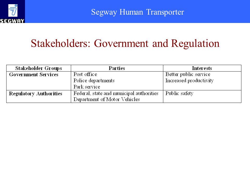 Segway Human Transporter Stakeholders: Government and Regulation