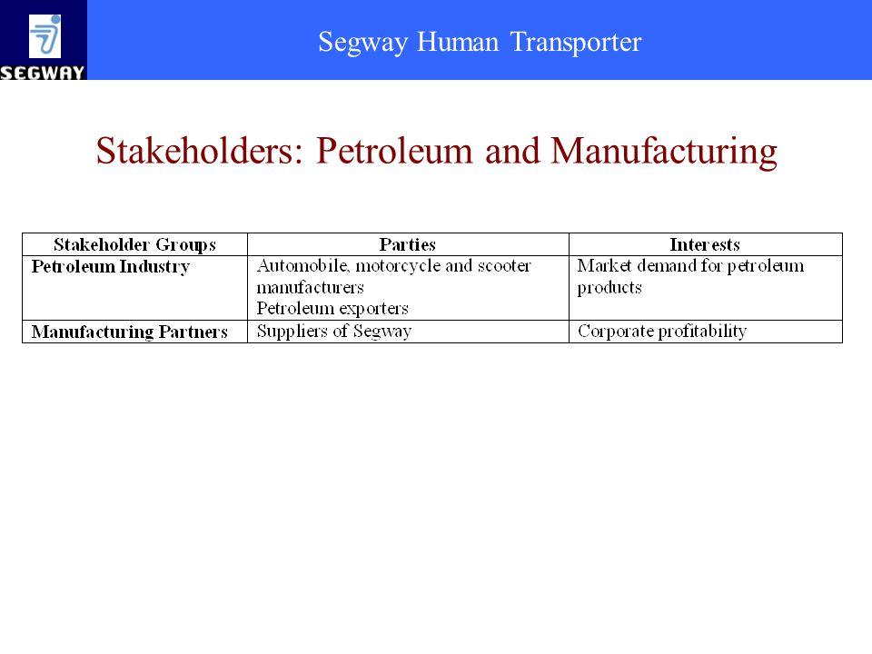 Segway Human Transporter Stakeholders: Petroleum and Manufacturing