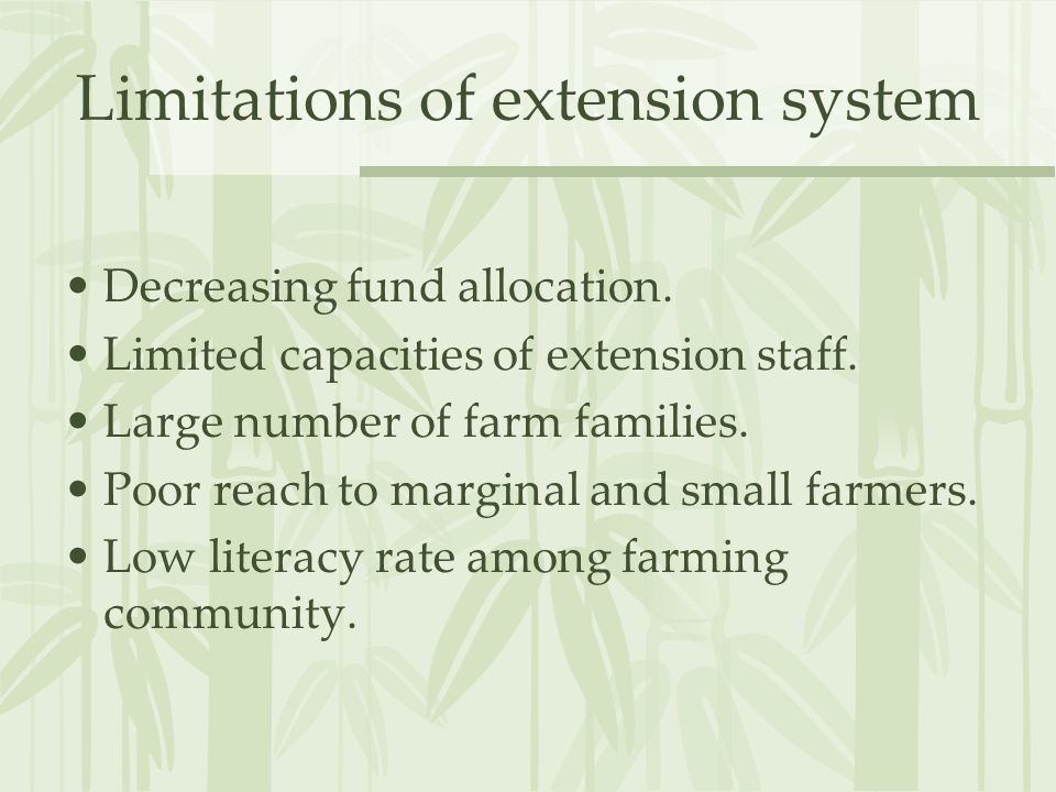 E-extension Use of ICTs has been put forth for: Bridging the knowledge deficit among farmers Enhancing the capabilities of extension personnel, and Strengthening the research-extension- farmer linkages.