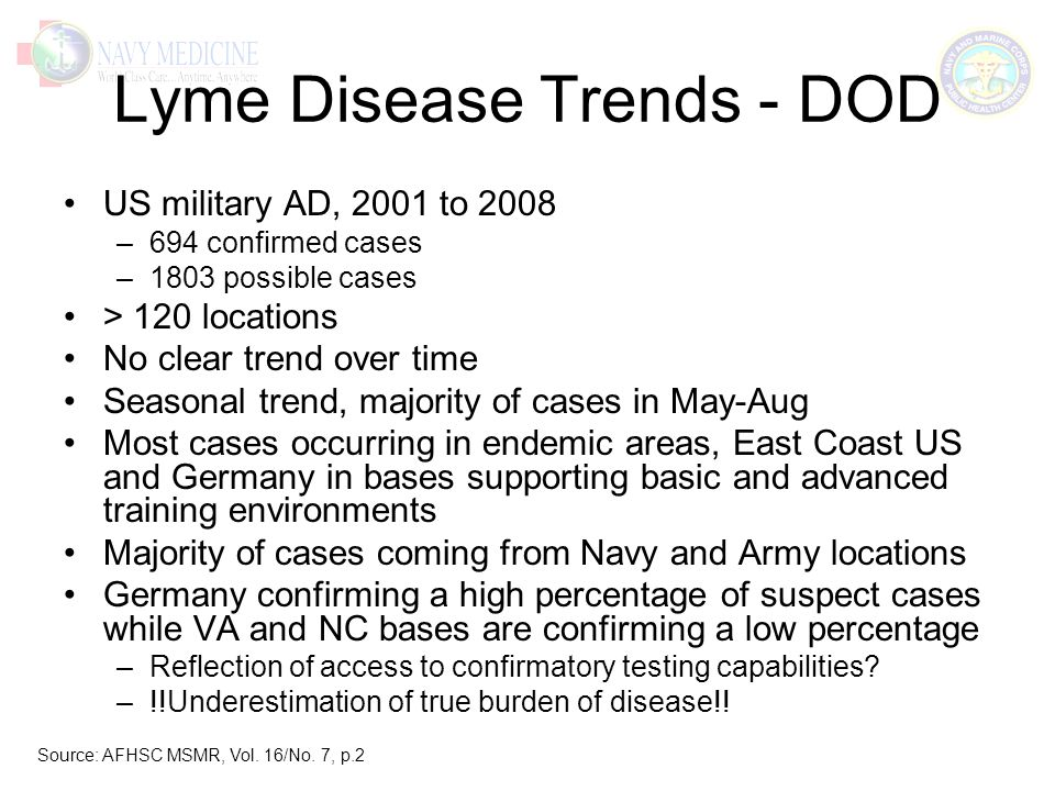 Lyme Disease Trends - DOD US military AD, 2001 to 2008 –694 confirmed cases –1803 possible cases > 120 locations No clear trend over time Seasonal trend, majority of cases in May-Aug Most cases occurring in endemic areas, East Coast US and Germany in bases supporting basic and advanced training environments Majority of cases coming from Navy and Army locations Germany confirming a high percentage of suspect cases while VA and NC bases are confirming a low percentage –Reflection of access to confirmatory testing capabilities.