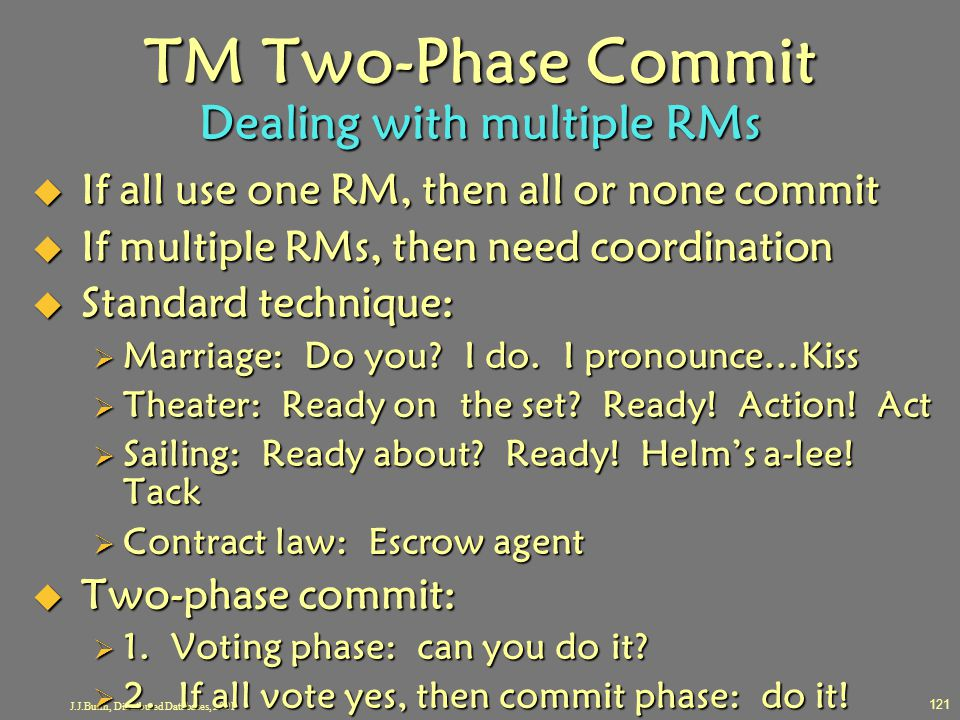 J.J.Bunn, Distributed Databases, 2001 121 TM Two-Phase Commit Dealing with multiple RMs  If all use one RM, then all or none commit  If multiple RMs