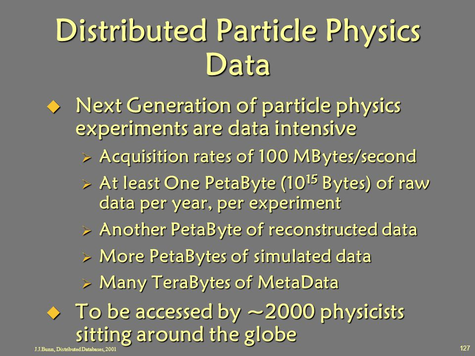 J.J.Bunn, Distributed Databases, 2001 127 Distributed Particle Physics Data  Next Generation of particle physics experiments are data intensive  Acq