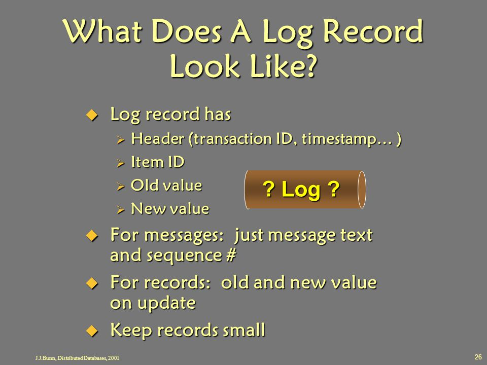 J.J.Bunn, Distributed Databases, 2001 26 What Does A Log Record Look Like?  Log record has  Header (transaction ID, timestamp… )  Item ID  Old val