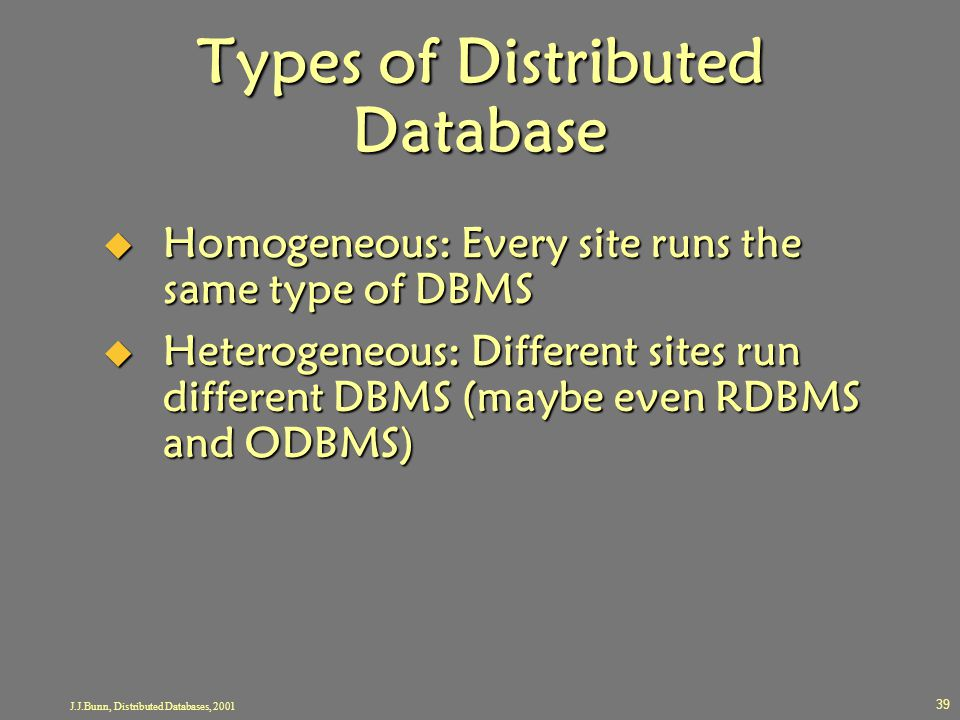 J.J.Bunn, Distributed Databases, 2001 39 Types of Distributed Database  Homogeneous: Every site runs the same type of DBMS  Heterogeneous: Different