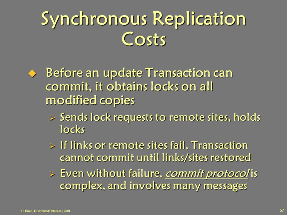 J.J.Bunn, Distributed Databases, 2001 57 Synchronous Replication Costs  Before an update Transaction can commit, it obtains locks on all modified cop