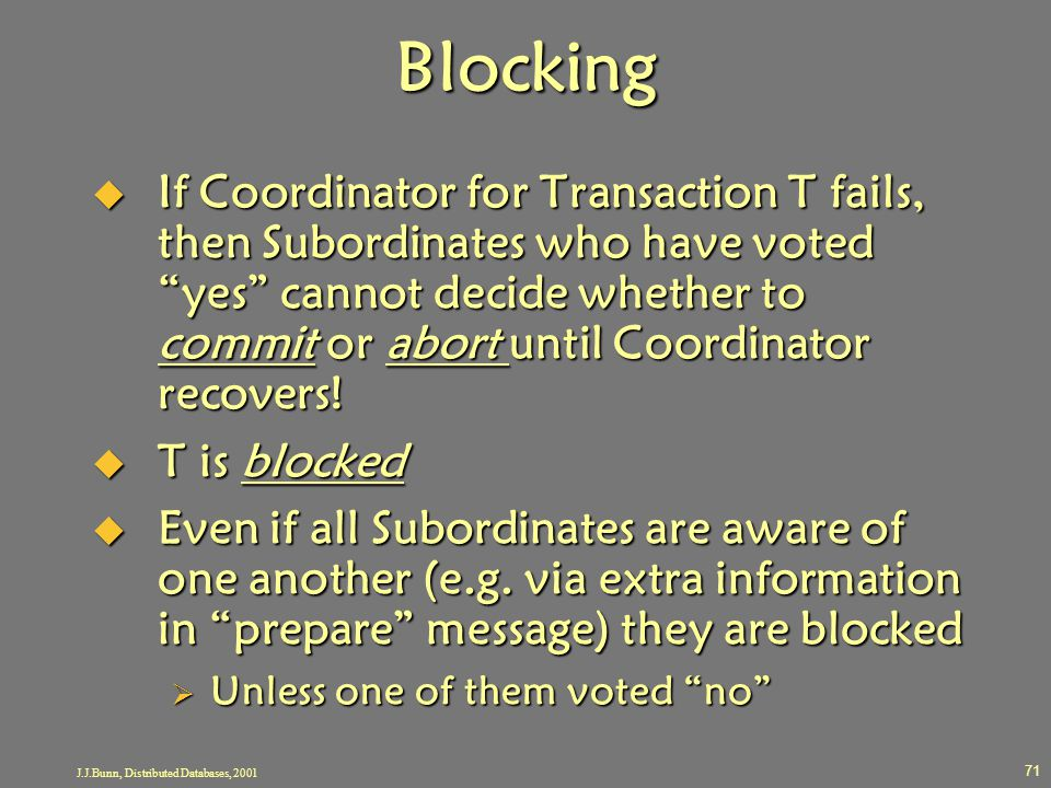"J.J.Bunn, Distributed Databases, 2001 71 Blocking  If Coordinator for Transaction T fails, then Subordinates who have voted ""yes"" cannot decide wheth"