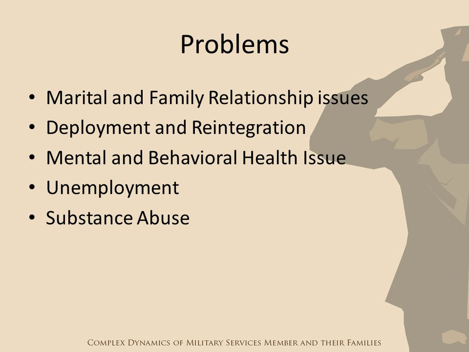 Problems Marital and Family Relationship issues Deployment and Reintegration Mental and Behavioral Health Issue Unemployment Substance Abuse
