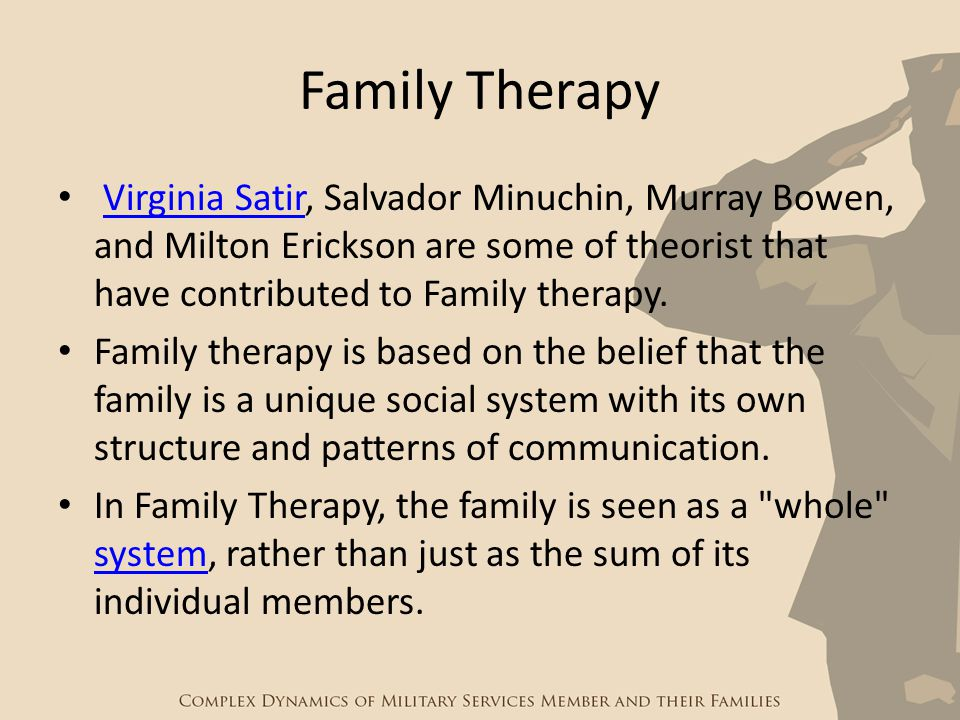 Family Therapy Virginia Satir, Salvador Minuchin, Murray Bowen, and Milton Erickson are some of theorist that have contributed to Family therapy.Virgi