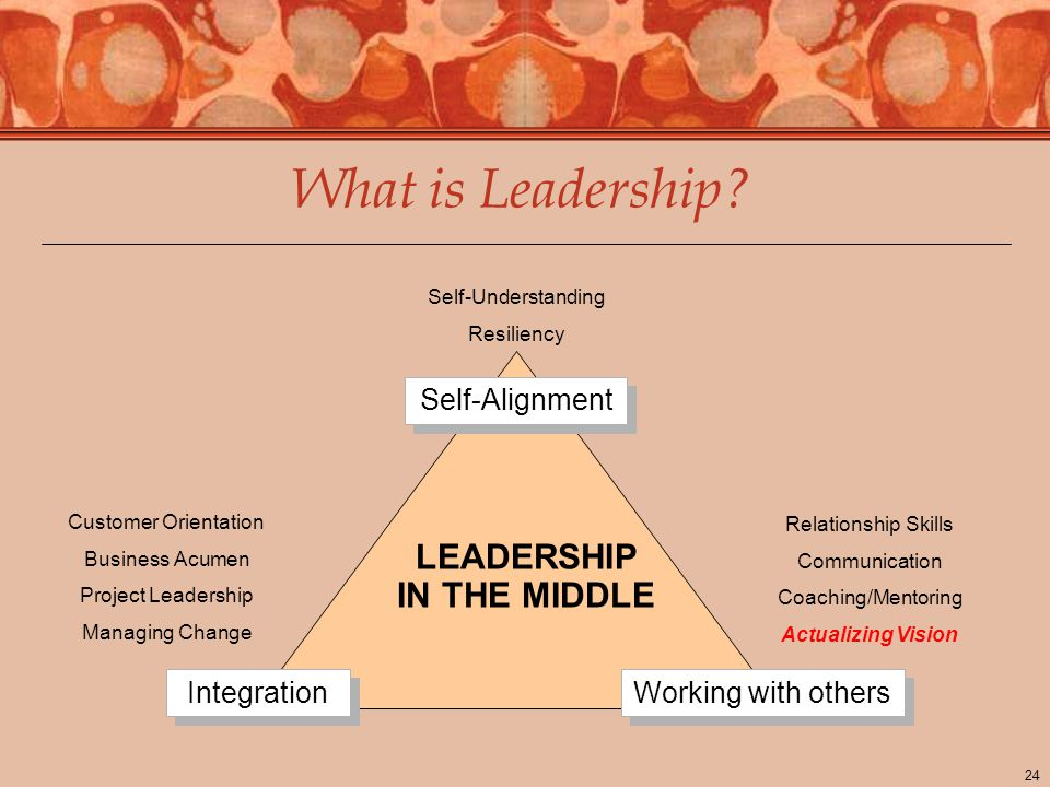 24 Self-Understanding Resiliency Customer Orientation Business Acumen Project Leadership Managing Change Relationship Skills Communication Coaching/Mentoring Actualizing Vision What is Leadership.