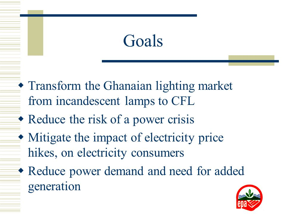Goals  Transform the Ghanaian lighting market from incandescent lamps to CFL  Reduce the risk of a power crisis  Mitigate the impact of electricity price hikes, on electricity consumers  Reduce power demand and need for added generation