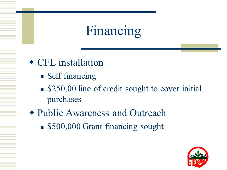 Financing  CFL installation Self financing $250,00 line of credit sought to cover initial purchases  Public Awareness and Outreach $500,000 Grant financing sought