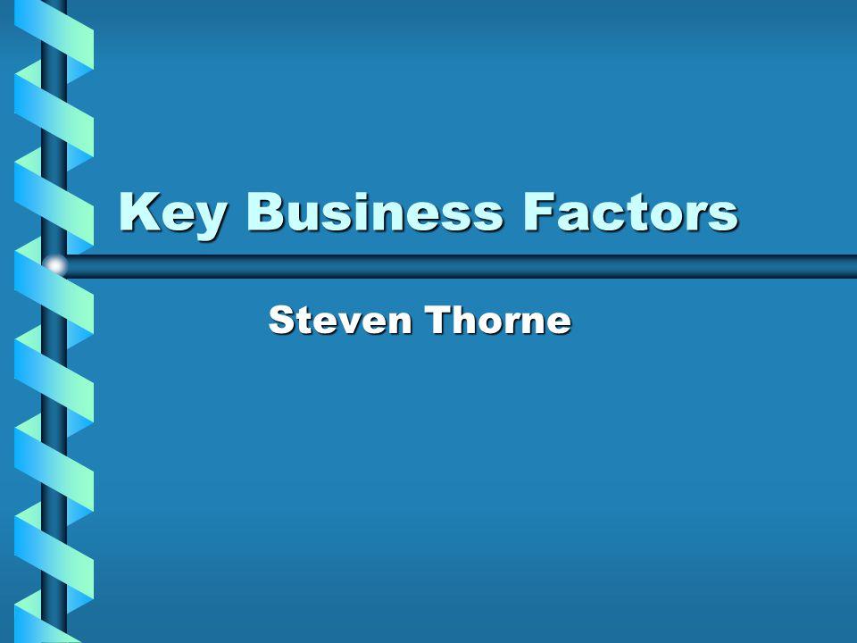 Key Business Factors Steven Thorne Steven Thorne