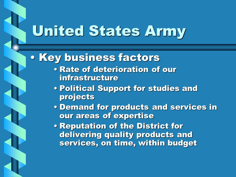 United States Army Key business factorsKey business factors Rate of deterioration of our infrastructureRate of deterioration of our infrastructure Pol
